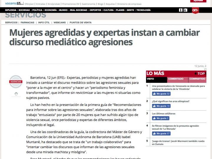 PRENSA: El Diario Vasco «Mujeres agredidas y expertas instan a cambiar el discurso mediático agresiones»