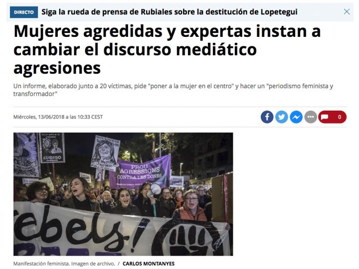 """PREMSA: El Periódico """"Mujeres agredidas y expertas instan a cambiar el discurso mediático agresiones"""""""