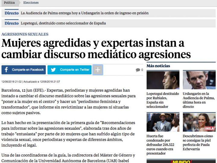 """PREMSA: La Vanguardia """"Mujeres agredidas y expertas instan a cambiar discurso mediático agresiones"""""""
