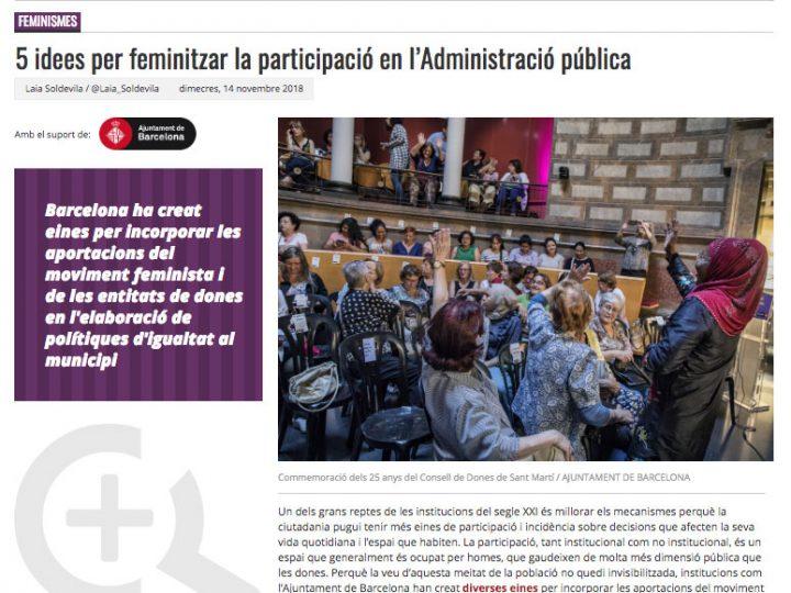"""PREMSA: """"5 idees per feminitzar la participació en l'Administració pública"""""""