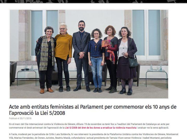 PRENSA: Acte amb entitats feministes al Parlament per commemorar els 10 anys de l'aprovació la Llei 5/2008