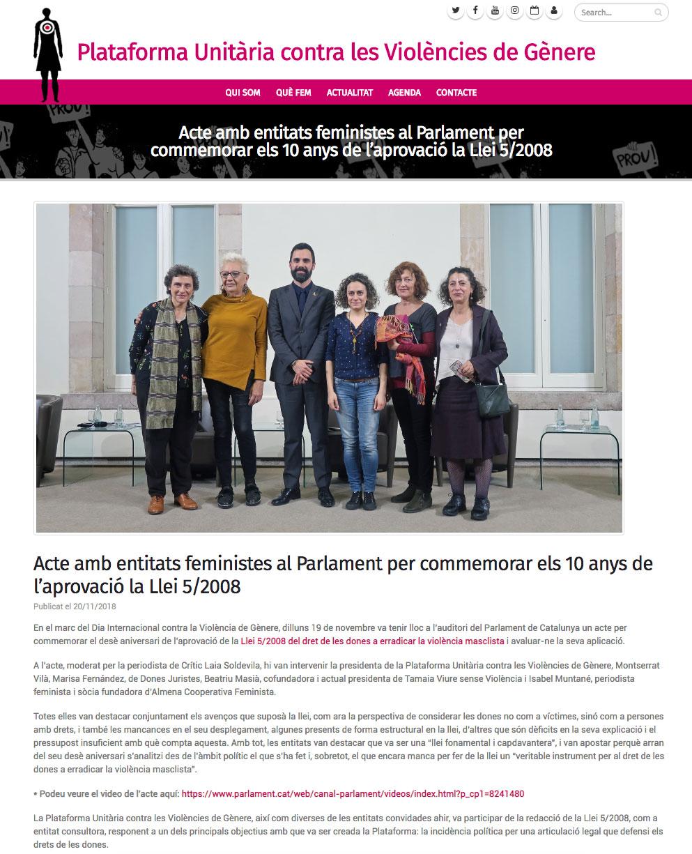 Acte amb entitats feministes al Parlament per commemorar els 10 anys de l'aprovació la Llei 5/2008