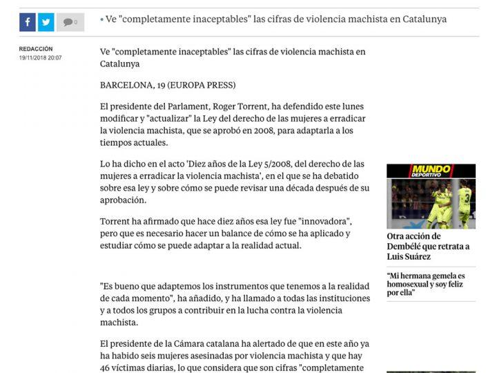 """PREMSA: Torrent defiende """"actualizar"""" la ley catalana contra la violencia machista"""
