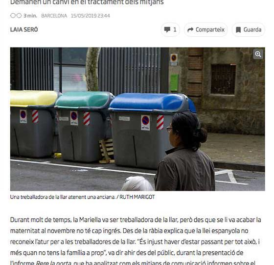 """PRENSA: Les treballadores de la llar: """"Deixeu de criminalitzar-nos"""""""