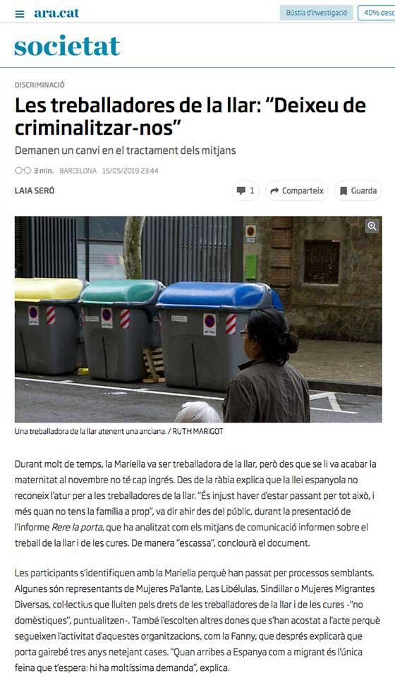 """Les treballadores de la llar: """"Deixeu de criminalitzar-nos"""""""