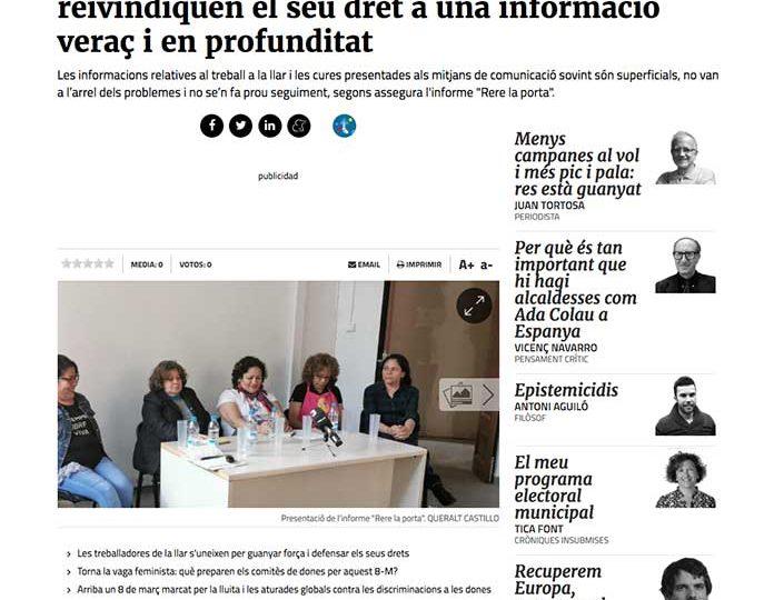 PRENSA: Les treballadores de la llar i les cures reivindiquen el seu dret a una informació veraç i en profunditat