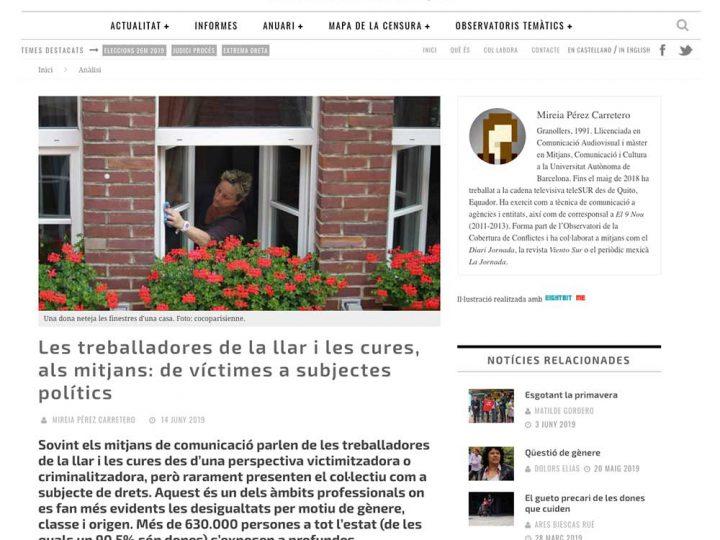 """PRENSA: media.cat """"Les treballadores de la llar i les cures, als mitjans: de víctimes a subjectes polítics"""""""