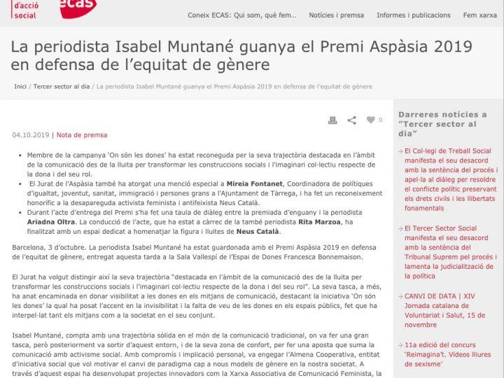 PRENSA: La periodista Isabel Muntané gana el Premi Aspàsia 2019 en defensa de la igualdad de género