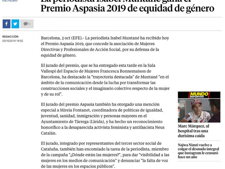PRENSA: La periodista Isabel Muntané gana el Premio Aspasia 2019 de equidad de género