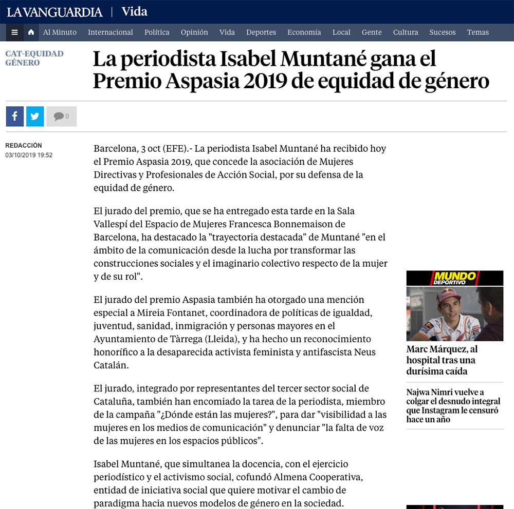 La periodista Isabel Muntané gana el Premio Aspasia 2019 de equidad de género