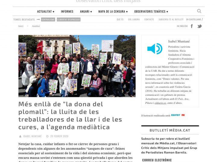 """PREMSA: Més enllà de """"la dona del plomall"""": la lluita de les treballadores de la llar i de les cures, a l'agenda mediàtica"""