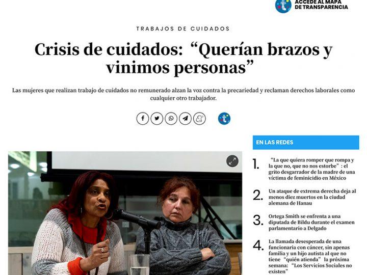 """PRENSA: Crisis de cuidados:""""Querían brazos y vinimos personas"""""""