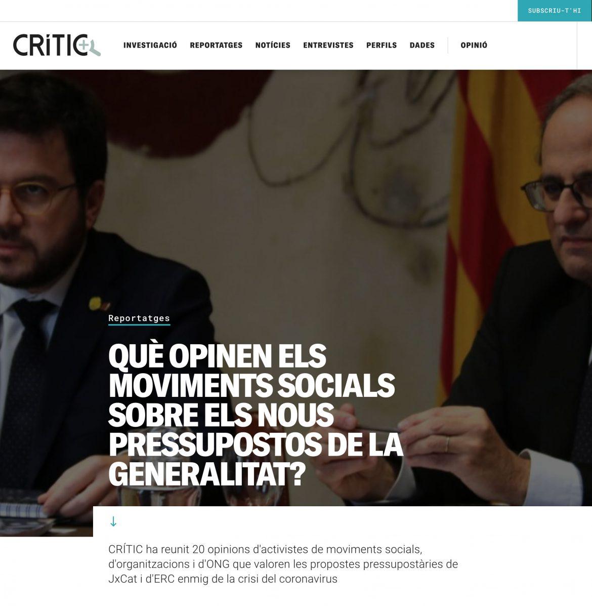 PREMSA: Què opinen els moviments socials sobre els nous pressupostos de la Generalitat?