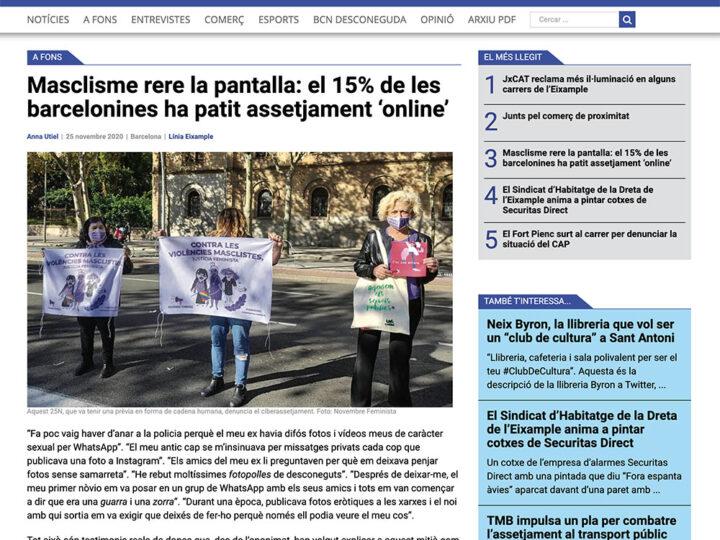 PREMSA: Masclisme rere la pantalla: el 15% de les barcelonines ha patit assetjament 'online'