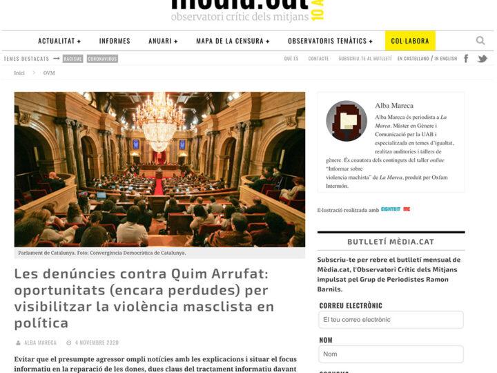 PRENSA: Les denúncies contra Quim Arrufat: oportunitats (encara perdudes) per visibilitzar la violència masclista en política