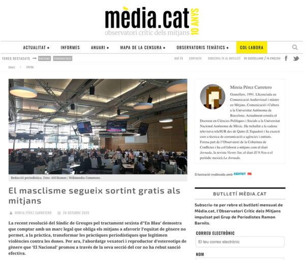 El masclisme segueix sortint gratis als mitjansEl masclisme segueix sortint gratis als mitjans