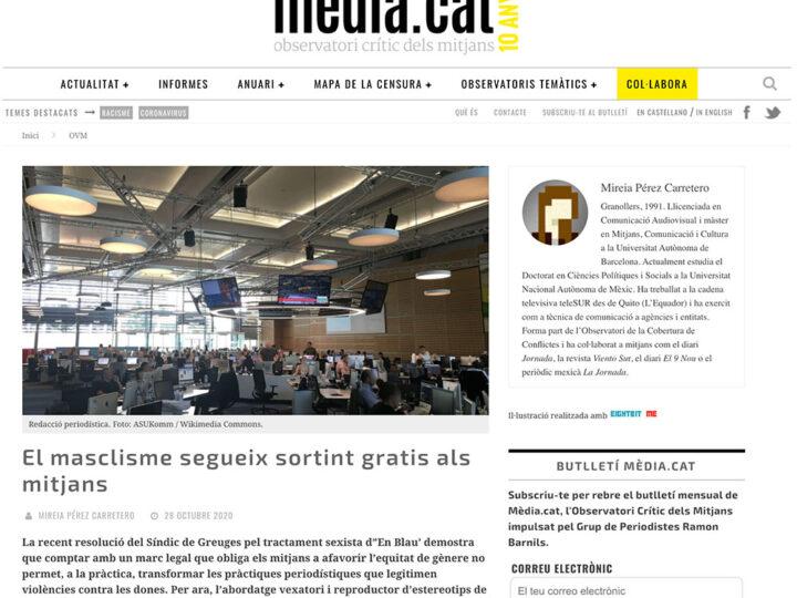 PRENSA: El masclisme segueix sortint gratis als mitjans